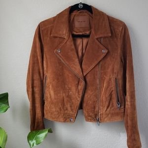 BlankNYC camel brown suede moto jacket S /small